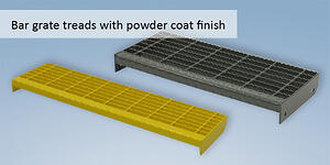 Bar grate treads with powder coat finish