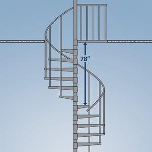 Spiral stair head clearance